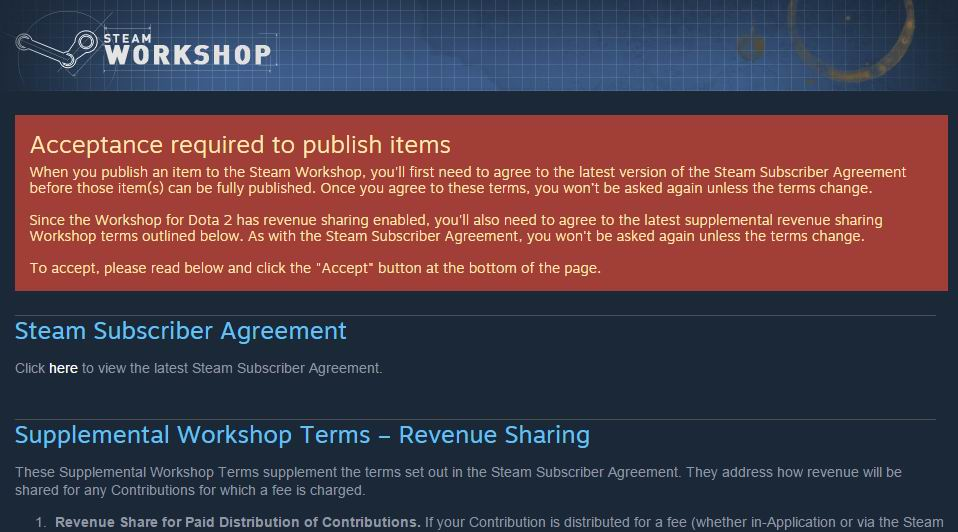 Dota 2 workshop account preparation for workshop item submission clicking this button will accept both agreements platinumwayz